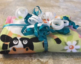 Farm Animals Cow Sheep Pig Duck Green Reversible Burp Cloth - Ready to Ship by PiquantDesigns