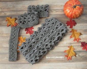 Gray Crochet Infinity Scarf, Boot Cuffs, Headband Pattern, Grey scarf pattern pack