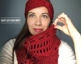 Red Infinity Scarf, crochet scarf, crochet cowl, knit scarf