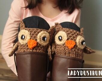 Woodland Animals Owl Boot Cuffs / Crochet Owl / Boot Socks / Crochet Boot Cuffs / Owl Boot Cuffs