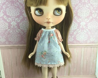 Blythe Smock Dress - Blue and Apricot Floral