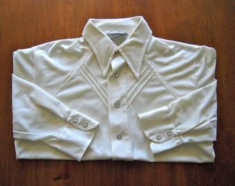 1970s Men's Western Button Up Shirt 70s Country Western Cream White Ivory