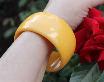 Yellow Resin Bangle, Extra Wide