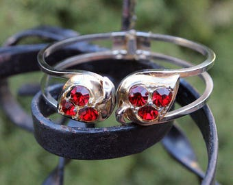 Red Rhinestone Clamper Bracelet, Leaf Design