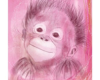 5x7 Nursery Print - Monkey, Pink