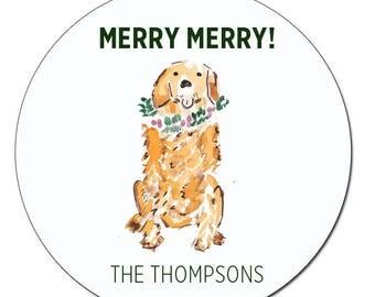 Golden Retriever Christmas Gift Tag Stickers