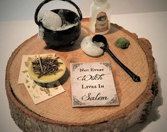 Not Every WITCH Lives in SALEM PAPERWEIGHT Desk Art Miniature Halloween Sign Cauldron Potion