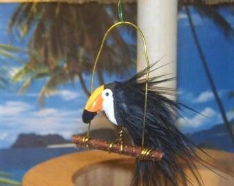 Dollhouse Miniature Bird TUCAN with PERCH Tropical Terrarium Fairy Garden Kit Animal Pet Store
