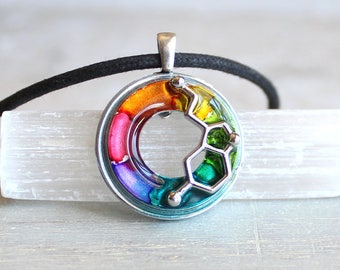 rainbow serotonin molecule necklace, science jewelry, chemistry necklace, scientist necklace, teacher gift, mental health, happiness hormone