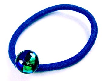 "Dichroic Ponytail Holder Rubber Band - Medium Blue Aqua Teal Green Triangles Fused Glass - 1/2"" 12mm - Hair Rubberband Small Accessories"