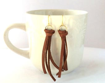 Cognac Brown Leather Tassel Earrings