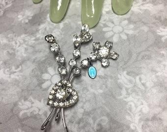 "Vintage 2 1/2"" Silvertone Clear Rhinestone Floral Sprig Pin - religion"