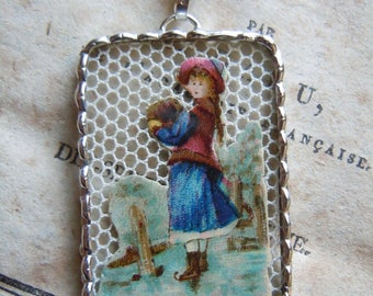 Fiona & The Fig - Victorian - Die Cut Scrap - Girl Ice Skating - Soldered Charm - Necklace - Pendant-Jewelry