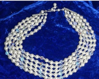 25% Off Gorgeous fuax pearl and crystal Necklace Choker with Blue AB Crystals Four Strands