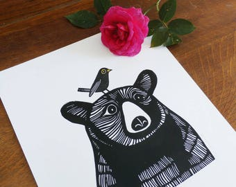 Bear and Blackbird, by Kat Lendacka, Original Linocut Print, Open Signed Edition, Free Postage in UK, Hand Pulled, Printmaking, handprinted