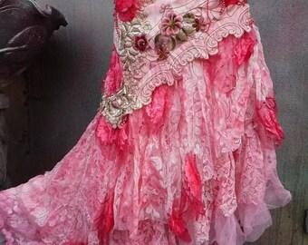20%OFF wedding, bridal,tattered skirt, boho, fantasyl, stevie nicks, bohemian skirt, gypsy skirt,woodland, lace, bellydance, small,4,6,8