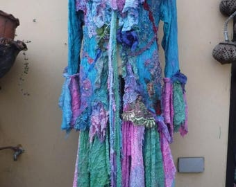 "20%OFF gothic bohemian mermaid jacket gypsy coat hippy velvet...medium to 44"" bust...."