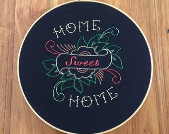 Home Sweet Home Hand Embroidery Large Round Hoop Hanging Frame Tattoo Art