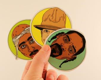 snoop pharell 2pac portrait stickers laptop labels tags rap illustration