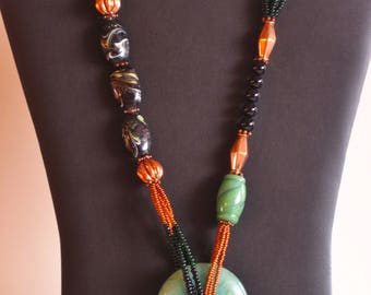 Southwestern Necklace, Beaded Necklace, Tribal Necklace, Copper necklace, Onyx necklace