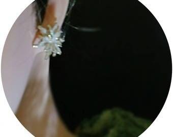 Crushed diamond tipped in gold pierced earrings