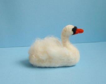 Swan hand needle felted