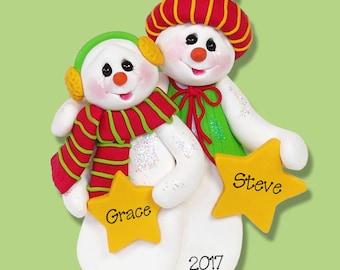 Snowman Couple with Stars Handmade Polymer Clay Personalized Couples Ornament - Limited Edition