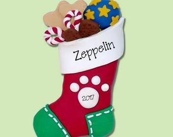 Christmas Puppy Dog Stocking w/Treats Handmade Polymer Clay Personalized Christmas Ornament - Limited Edition