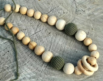 Crochet Nursing Necklace - Breastfeeding Necklace - Teething necklace with crochet beads
