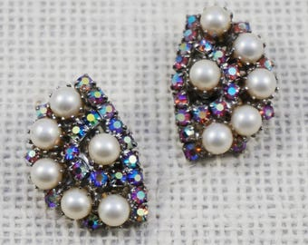 1950's Pink Aurora Borealis Crystal Rhinestone and Faux Pearl Crescent Earrings