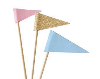 12 Triangle Drink Stirrers, Gender Reveal Party, Wedding Cocktail Stirrers, Flag Swizzle Sticks - No803