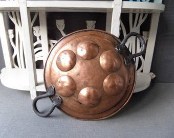 French Antique Handled Copper Egg Poacher Kitchen Chateau