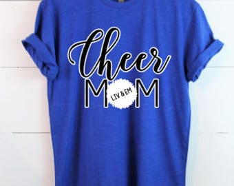 Custom Cheer Mom Shirt- Made to order - Pick your colors - Graphic Tee - Add your girl(s) names