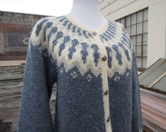Vtg Heather Blue Ivory Knit Wool Ski Nordic Knit Cardigan Sweater Size Medium Large  1980's 90's Woodstock by Bernard 38