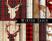 SALE Winter Cabin  Christmas Digital Scrapbook Papers -lumberjack, Red plaid, buffalo, Deer antler, elk  INSTANT DOWNLOAD