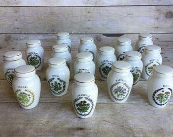 Vintage Ceramic Spice Jar Set - The Franklin Mint - Set of 16