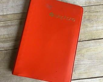 Vintage Orange Telephone Book -  Address Book - Phone Book - Addresses