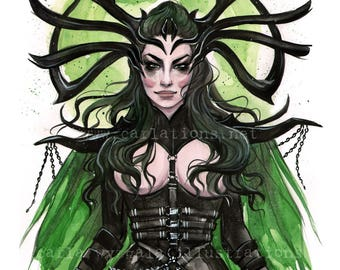 Goddess of Death HELA Thor Ragnarok Burlesque lingerie Pin Up watercolor Art print by Carla Wyzgala Carlations