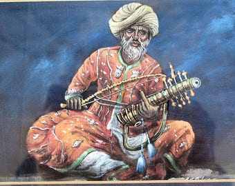 """Musician Playing the Rubab or Sitar on Silk, Watercolor signed by Kapil, the artist, Framed-11.5""""x13.5"""""""