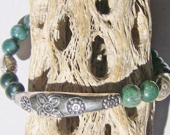 Bluegreen Agate SS Ladybug Bracelet