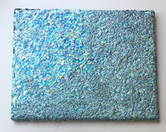 Blue / Hand Sewn Sequin Painting / Fine Art