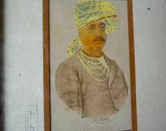 Man in Yellow Turban Vintage Midcentury Framed Portrait Hand Painted Photograph India Photograph Wall Decor