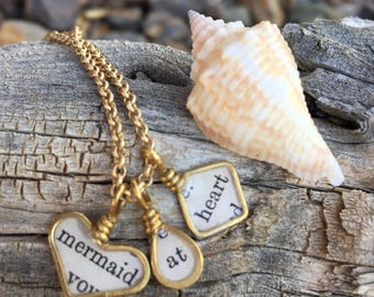 brass wire wrapped heart charm charms inspirational saying sayings necklace jewelry mermaid at heart mixed media resin wire bezel jewelry