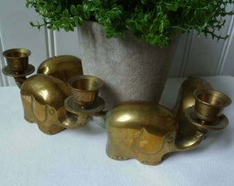 4 Brass Elephant Candle Holders. Vintage 1960s 1970s. Linking Interlocking. Mid Century Modern, Jungle Safari Decor. Set Elephant Figurines.