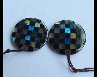 New,Unique  Design Natural Labradorite,Obsidian Intarsia Gemstone Earring Bead,28x5mm,58ct,-E7290