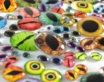 SALE Glass Eye Overstock Wholesale Lot 10 Cabochons in Random Designs - Choose Size 6mm 8mm 10mm 16mm 25mm 30mm - For Taxidermy or Jewelry M