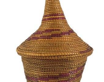 Tutsi Basket Lidded Tight Weave Rwanda African Art 112740