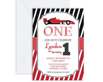 PRINTED Racecar birthday invitation, race car 1st birthday, birthday invite,BOY or GIRL birthday invite, red and black, (Any Age) (Any Age)
