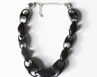 On Sale Black Chunky Statement  Necklace Vintage Black Plastic Chain Gift for Her Summer Jewelry