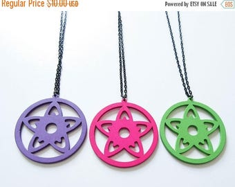 On Sale Wood Star Necklace Pentacle Pendant Wiccan Gift Light Weight Colorful Jewelry Green Pink Purple